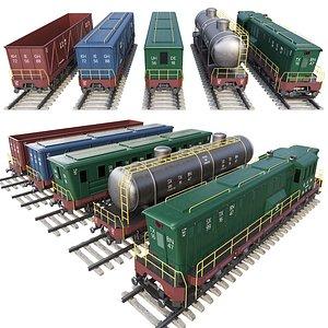 3D trains passenger wagons