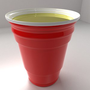 Red Plastic Cup with Full Liquid 3D