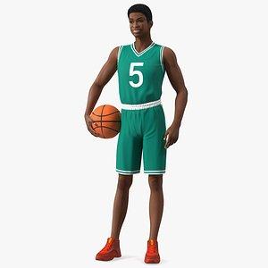 3D Light Skin Teenager Basketball Player Standing Pose