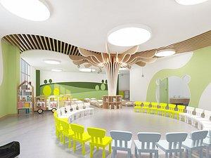 3D Kindergarten Kindergarten Classroom Early Education Center Kindergarten Library Multimedia Room Acti