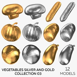 3D Vegetables Silver and Gold Collection 03 - 12 models