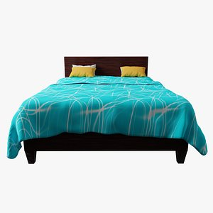 SIMPLE WOODEN BED WITH BLUE BEDSHEET 3D model