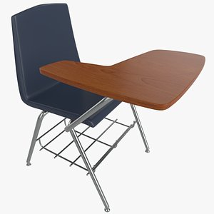 3D model Student Chair School Desk