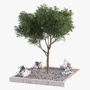 tree gravel filled pit 3D model