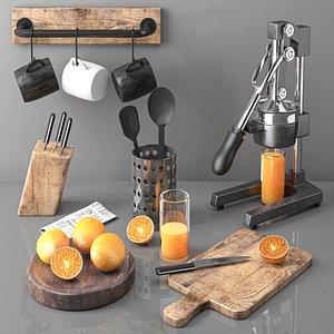 3D model kitchenware fruit