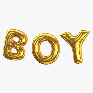 3D Foil Balloon Words Boy Gold