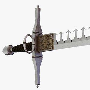 Old damaged swordbreaker, realistic medieval wepon, parrying dagger, optimised for game egines model