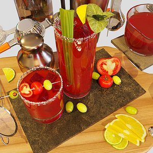 3D cocktail set bloody mary model