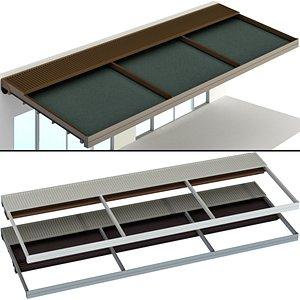 Metal pergola gazebo canopy with awning 3D