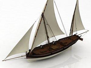 San Juan Caravel Felucca Ship 3D