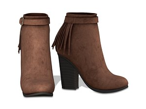 brown leather fringe ankle 3D model