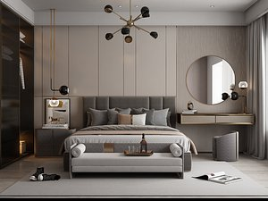 Modern Style Bedroom - 523 3D model