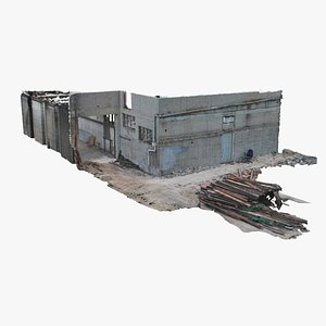 demolition site facade 3D model