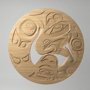 3D model northwest coast art circular