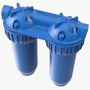 3D Double Stage Water Filter Housing Blue model