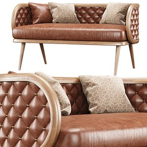 3D Victoria leather two-seater restaurant sofa LC15 model