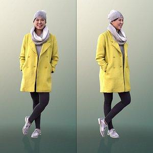 10097 Bao - Smiling Woman In Yellow Coat 3D model