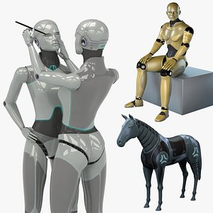 robots horse female 3D model