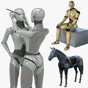 robots horse female 3D model
