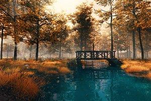 Autumn Forest River Scene model