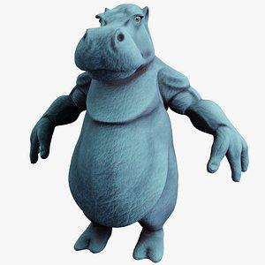hippo rigged pbr model