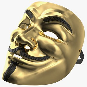 Guy Fawkes Mask Gold 3D