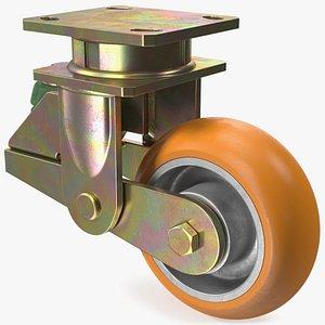3D Poly Spring Loaded Swivel Castor model