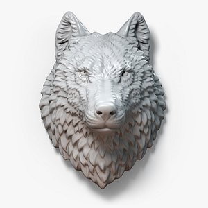 wolf animal head sculpture 3D model