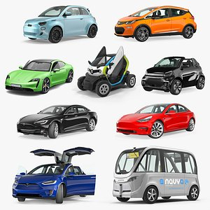 Rigged Electric Cars Collection 3 3D model