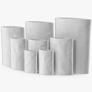 Zipper White Paper Bags Open Mockup 3D model