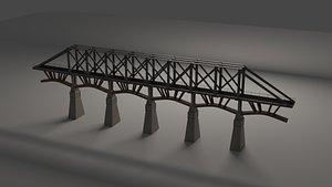 rail railway bridge 3D