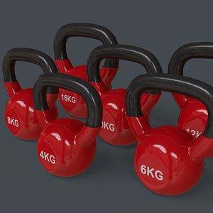 3D PBR 4-16KG Kettlebell V1 - Red