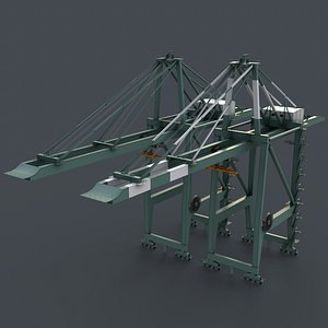 PBR Quayside Container Crane V2 - Green Light 3D model
