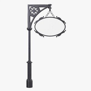 Forged column with hanging board 04 3D model
