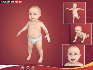 3D Baby Boy - Baby Girl - Rigged