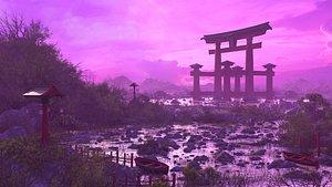 3D model torii tori japan