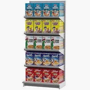 3D supermarket shelves cereal model