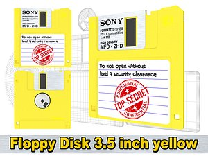 Floppy Disk 3 5 inch yellow model
