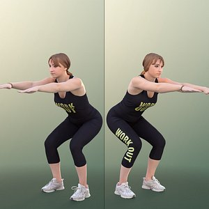 woman young fit 3D model