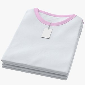 3D Female Crew Neck Folded Stacked With Tag White and Pink 01