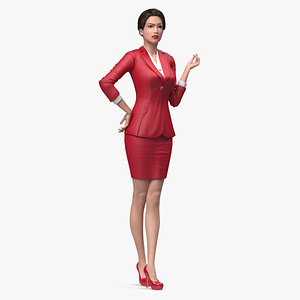 3D model Asian Woman wears Red Formal Suit Rigged