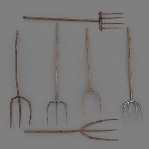 3D 6 Medieval Farm Pitchforks PBR