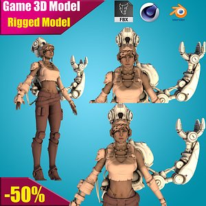 cyborg female 3D model