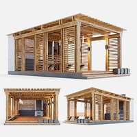 Wooden gazebo with oven