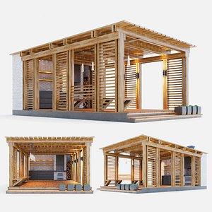 3D wooden gazebo arbor model