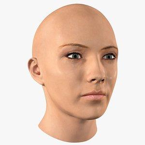 3D female bald head woman model