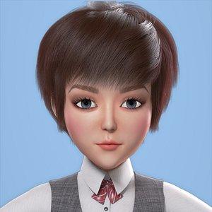 Cartoon Restaurant waiter Girl model 3D model