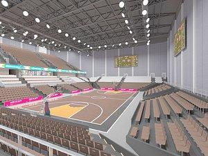 An indoor basketball court, a basketball hall, a stadium, a stand model