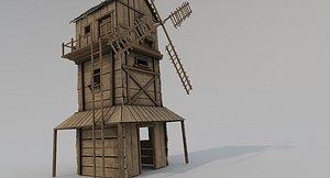 Medieval Wooden Windmill 3D model