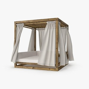 Wood Outdoor Beach Tent with Fabric Curtains 3D model